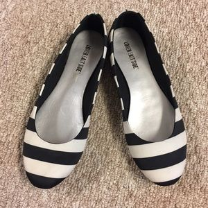 Lower East Side Black & White Striped Flats